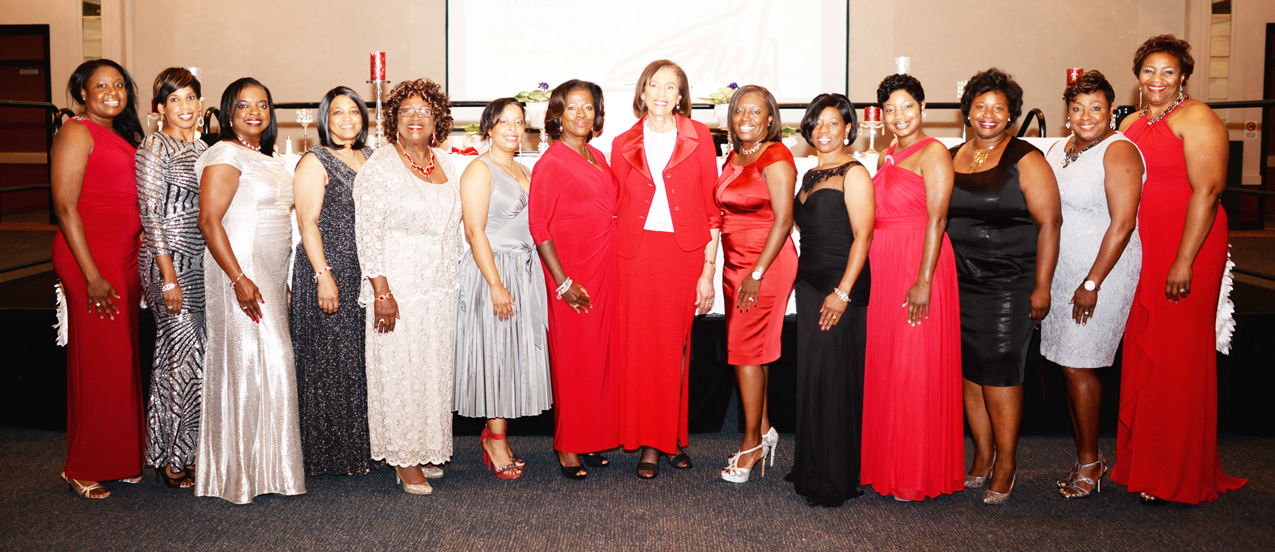 Shown above at the event are Jacksonville Alumnae Chapter members (L-R): Tashia Small, Cicely Z. Suttle, Joni Hughes, Debra Vaughn, Pat Godboldt, chapter Second Vice President A. Jamila Pope, Chapter President Veronica Tutt, Delta Sigma Theta Sorority, Inc 17th National President Mona Humphries-Bailey, Chapter First Vice President Aurelia Ray-Williams, Kimberly Holloway, Rita Scott, Robyn Lawrence, Avis Sweet and Kimberly Stephens.