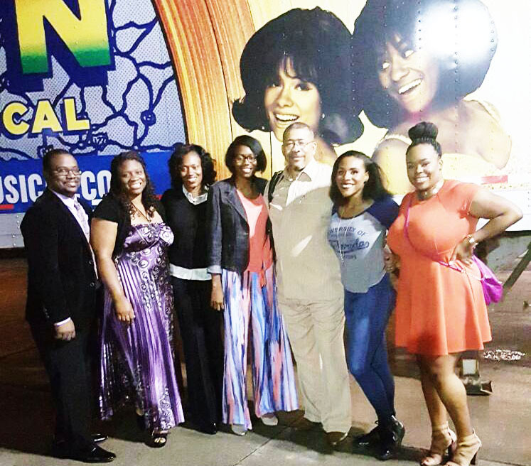Pictured is MTM ensemble member Martina Sykes with her Jacksonville family members left to right Tavares Parker, Davina S. Parker, TuJuanna Sykes, Jhayda Sykes, Dr. Reginald L. Sykes, Sr., and Martina Sykes. She played the roles of Gwen Gordy, a Vandella, Cindy Birdsong and Mary Wells.