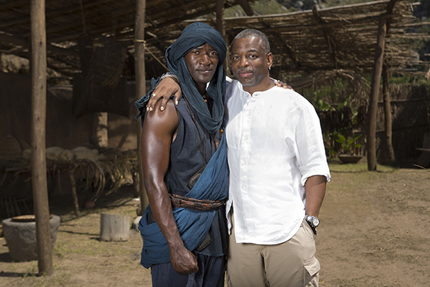Levar Burton (right) of the original Roots poses with newcomer (left) Malachi Kirby who plays Kunta Kinte in the remake