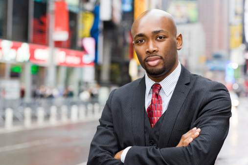 African American Businessman Portrait in Times Square, Copy Space