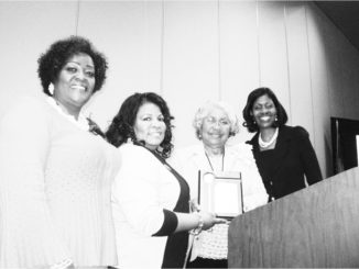 Pictured from left to right is Sharon Brown Harriott, Regional Director, Clorinde Miller, Chapter, Pi eta Chapter President, Thelma Mosley, Former Cluster Coordinator, and Rose Dean Andrews, Cluster Three Coordinator.