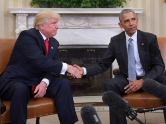 US President Barack Obama and President-elect Donald Trump shake hands during a transition planning.