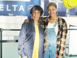 NAACPACT-SO Advisor Sandra Thompson  proudly sees Aahkilah off at the airport.