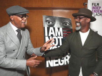 "Samuel L. Jackson (who narrates ""I Am Not Your Negro,"") and actor Isaiah Washington greet each other during a recent screening of the film. (Photo courtesy of Magnolia Pictures)"