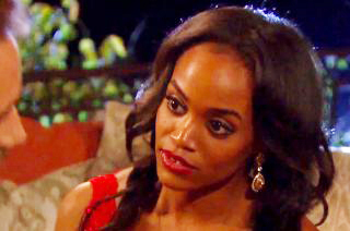 Rachel Lindsay and The Bachelor Nick Viall on the couch.