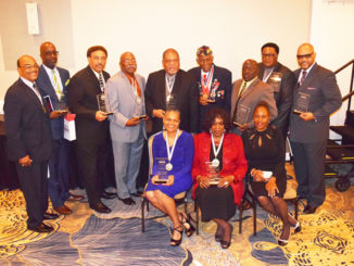 Bob Hayes Community Service Awardees: l-r seated: Tracy Gaffney, Betty Dallas and Janice Thurston; standing l-r: John Stafford, Victor Jefferson, Lamar Hall, George Barnes, Dr. Frank Emanuel, Alpha Gainous, Roderick Smith, Samuel Davis and Pastor Karl Hodges.