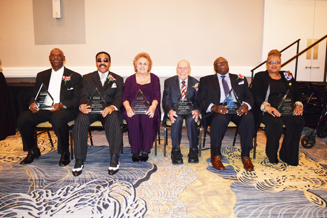 Bob Hayes Hall of Fame Inductees l-r: Terrance Davis, Alvin Wyatt, Annalee and Charles McPhilomy, Cula Jackson and Kathy Griffin