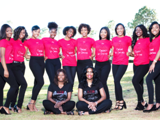 Standing L to R:  Contestants Kennedy Riggins, Morgan Brackett, Kayla Freeney, TaNia Anderson, Olivia Walker, Ria-Skylar Brooks, Mia Uzzell, Ahja Butler, Athena Faire, and Mikia Hosley.   Sitting L to R:  Delta Teen Pageant Co-Chairs Michele Bell-Badger and Ingrid Bethel.
