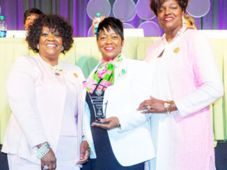 Shown are Sharon Brown Harriott, South Atlantic Regional Director, Gamma Rho Omega Basileus Willetta Ritchie and International Supreme Basileus Dr. Dorothy Buckhanan Wilson.