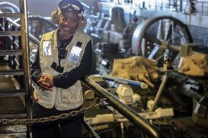 170309-N-FM530-027 ATLANTIC OCEAN (March 9, 2017) Chief Warrant Officer (CWO) 2 Summer Levert, a Cleveland native, poses for a photo in the well deck aboard amphibious transport dock ship USS Mesa Verde (LPD 19). Levert is the Navy's first black female CWO Bos'n, the subject matter expert on all major seamanship functions and the maintenance of topside gear such as; small boat operations, supervising anchoring, mooring, and replenishment-at-sea and the operation and maintenance of the ship's boats. The ship is deployed with the Bataan Amphibious Ready Group to support maritime security operations and theater security cooperation efforts in the U.S. 6th Fleet area of operations. (U.S. Navy photo by Mass Communication Specialist 2nd Class Brent Pyfrom/Released)