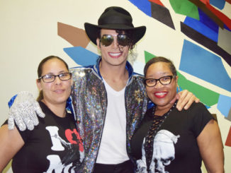 Maria Nieves pictured with MJ Live impersonator Justin Dean and friend Paula Logan.