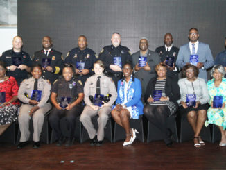 Shown seated l-r are honorees, First African American Female Firefighter Wanda Butler, State Trooper Jazmin Grant, Police Officer Samantha Griffin, State Trooper Brianna J. Onorato, BAZ Chapter President Herlena Washington, Guest Speaker Judge Angela Cox, First African American Female Police Office Retha Butler and Emergency management Rep Dana Shropshire. Standing l-r are honorees Firefighter Alan Byerly, Firefighter Keith Clair, Police Officer Travis J. Cox, Detective Bradley Emerson, Emcee Ken Jefferson, Firefighter Anthony Ragan, Firefighter Terrence Jones and Firefighter Aristides Diaz. Ron Lott Photo
