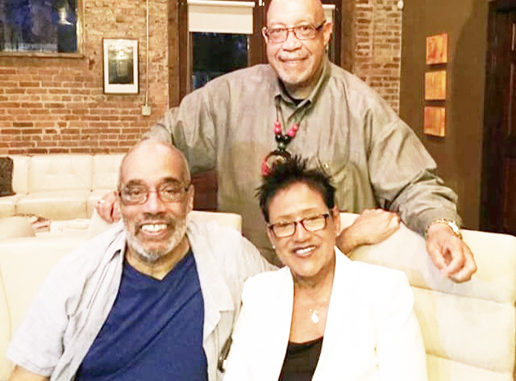 Shown seated with Elaine Brown is journalist, professor and former activist Charlie Cobb and standing is author Rodney Hurst talking advocacy after the program.