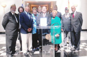 Shown l-r is Past Commander Hallie Williams-Bey, Anna Matthews, Post Commander Fred Matthews, Vernelle Smith, Chaplain Fred Humphries, Veterans Affairs Director Bill Spann, Past Commander Joann Miller, Past Commander Reginald Lawrence, Harold Baldwin, COJ Veterans Affairs Rep Ken Johnson.