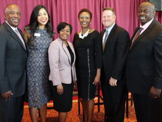 Photo (left to right): Eric Mann, president & CEO, YMCA's of Florida's First Coast; Sabeen Perwaiz, executive director, Florida Nonprofit Alliance; Nicole Thomas, hospital president, Baptist Medical Center South; Rosa Beckett, chief administrative officer, Jacksonville Aviation Authority; Kevin Dooley, head of HR for Jacksonville, Florida and Cary, North Carolina, Deutsche Bank; and Darnell Smith, JAX Chamber board chair.