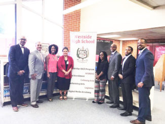 Pictured l - r:  Dr. Gregory Bostic Damien Haitsutka, Shiquon Collier, Rodilyn Bacho-Logsdon, Meyonica Griffin, Kevin Cobbin, Emanuel Gwathney