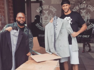 Colin Kaepernick donates suits outside a NYC parole office