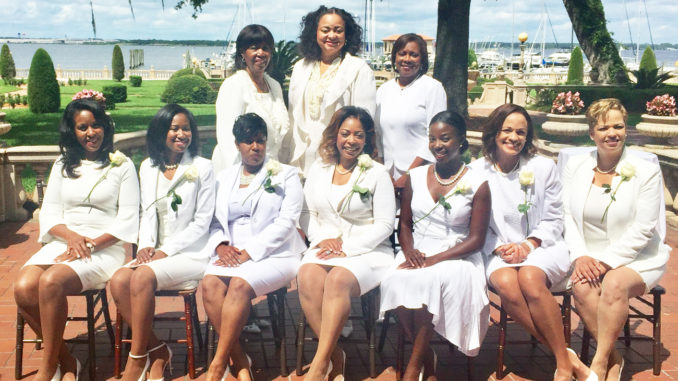 Shown at the occasion are (L-R) STANDING: Chapter Vice President Ruth Waters, Southern Area Vice Director Sylvia Perry and Chapter President Pamela Prier. SEATED: New members Lisa Moore, Shamika Baker, Tia Leathers, Jannet Ford, Imani Hope, Tracee Holzendorf and Ivy Archer.