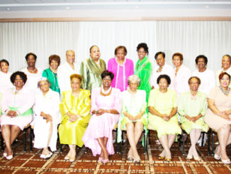 Front row – left to right:  Pauline Davis, Carolyn House Stewart, Esq., Sharon Brown-Harriott (South Atlantic Regional Director), Camilla Thompson, Norma Solomon-White, Dorothy Buckhanan Wilson (International President), Lavinia Mathis, Betty Howard, Naomi Briggs, Charletta Wilson-Jacks (International Secretary), and Myra Morrison.  Standing – left to right  Ethel B. Brooks, Mary Madison, Dorothy Mount, Gloria Dixon, Beverly shields, Marsha Lewis-Brown, Gloria Dixon, Rose Andrews-Cluster (Coordinator), Gail Holley, Bettie Messer, Loretta Coppock and Danette McQueen
