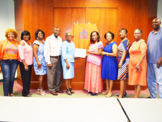 Pictured are chapter charter alumni, members and officers: Margaret Forbes, Babara Singleton, Janice Whitty (Southern Regional Vice President), Nathaniel Washington (President Emeritus), Delany Williams (President), Margaret Porter-Hall (National Alumni President, Beverly Oglesby (Lifetime Member), Debra Norman (Secretary), Clarisse Wrigh (Assistant Treasurer) and Robert Tutson.