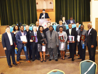 2017 Stop the Violence Adult Awardees Darryl Willie, Sel Buyuksarac, Mike Williams, Larry Sprull, Felicia Wilcox Esq, Vanessa Brooks, Ron Sholes Esq, Vito Terry, Matt Justice, Darryl Patterson, Michael Smith, Master of Ceremony Craig Shoup and Honorable Charlie Cofer.