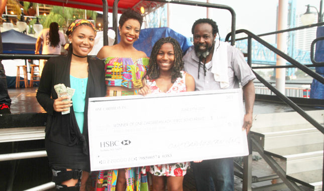 Scholarship Runner up Khyon Williams, News Anchor Keitha Nelson, Scholarship winner Jah'Nai Williams and Festival CEO Ian Walker