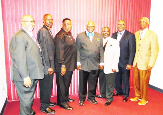 Pictured is Foundation Founder Nathanial Farley (center) surrounded by his former Stanton Class of 1978 football team members l-r: Anthony Smith, Frederick Scott, Isaac Miller, Coach Farley, Lentive Palmer, Samuel Bennefield and Dr. Jerome Wheeler. The players gathers to honor not only their former coach, but his hero as well.