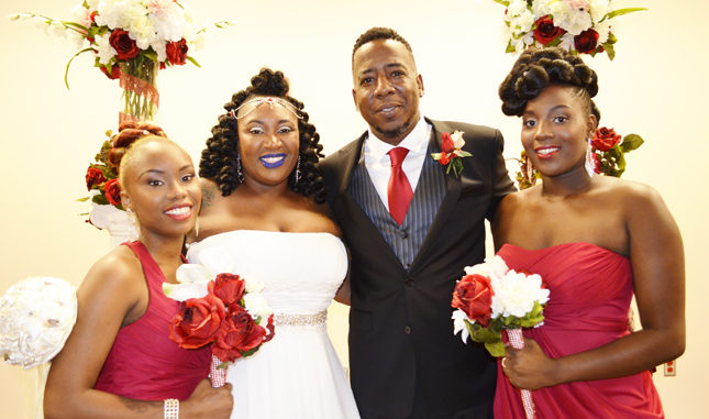 Shown above joined by two of their combined nine children are Nygeria Myers, Mr. & Mrs. Rudolph Thompson and R'iesha Thompson