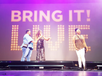 Fans Cassie Walker, and Angela Williams with Ms. D. on stage at Bring it Live!
