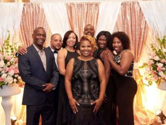 Shown are Edith Marie friends and family members Ed Bartley, Virgil Harris, Terri Powell, Brian Cole, Brianna Cole, Trivia Cole and (centered) daughter Terri Cooper