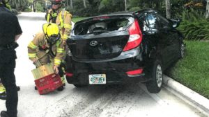Firefighters and police respond to a June 9, 2017, crash involving tennis star Venus Williams at Northlake Boulevard and BallenIsles Drive in Palm Beach Gardens. Linda and Jerome Barson, who where in a Hyundai Accent, were involved in the crash. Jerome Barson died two weeks later. Photo Provided By Barson Family