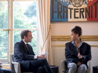 Rihanna meets with French President  Emmanuel Macron at the Elysee Palace in France.