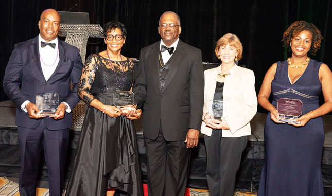Shown l-r are awardees Dr. Charles Greene, M.D., PhD., P.A., (Health and Safety Award), Dr. William Cody and Mrs. Betty Cody, (Distinguished Couple of the Year Award), Dr. Cynthia Bioteau (Education Award) and Ms. Hillery Shepherd (Economic Development Award).