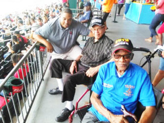Shown is General Manager Harold Craw, Lloyd Pearson former member of the Letter Carriers Union and Sollie Mitchell Former secretary/treasurer of the Sleeping Car Porters Union.