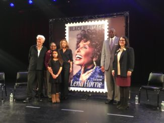 Stamp photographer Christian Steiner, Horne's daughter Gail Lumet Buckley (with family members), USPS Deputy Postmaster General Ronald Stroman, and WBGO President Amy Niles shared personal memories and stories during the Lena Horne stamp unveiling.