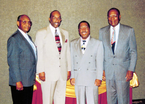 Shown with fellow BCU mates are (L-R) Dr. Holmes, BCU President Dr. Oswald P. Bronson, Atty. Burney Bivens and Dr. Nathaniel Davis.
