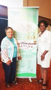Joyce Lawson and Brenda Simmons enjoy the exhibit.