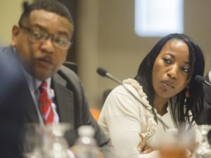 FAMU BOT Chairman Kelvin Lawson and Vice Chairwoman Kimberly Moore, chair of the Presidential Evaluation Committee, listen to board members discuss details of the exit agreement.