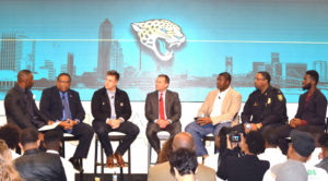 Shown l-r are panelists: Marcus Pollard (Director of Player Development & Youth Football, Jacksonville Jaguars), Rear Admiral Victor Guillory, U.S. Navy Retired, Carson Tinker, Jacksonville Jaguars, Mayor Lenny Curry, City of Jacksonville, Kelvin Beachum, Jacksonville Jaguars, Assistant Chief T.K. Waters, Violence Reduction Strategy, Jacksonville Sheriff's Office and Prince Amukamara, Jacksonville Jaguars.