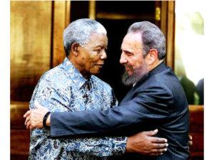 Nelson Mandela shared a hug with Fidel Castro