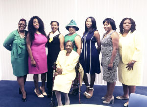 Pictured are:  Ms. Helen Bargeron (seated); from left to right, Dr. Danna Morris, Seirra Brown, Latanya Avant, Patrice Cushion (President), DeShayla Harrison, Claudine Monsanto, and Julia Paul.