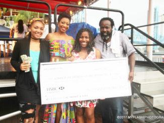 Scholarship Runner up Khyon Williams, News Anchor Keitha Nelson, Scholarship winner Jah'Nai Williams and Festival CEO Ian Walker