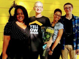 Shown are local artist Sarah Sanders, Yellow House Founder Hope McMath, Shiloh Sanders and Zavion Sanders