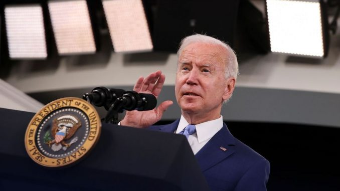 """President Joe Biden chose to focus on the just-released unemployment numbers in September jobs report, describing that measure as """"great progress."""" Biden delivered those remarks on October 8 in Washington, DC. (Chip Somodevilla/Getty Images)"""